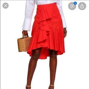 """Joie """"Chesmu"""" Poplin Ruffle Skirt Red"""